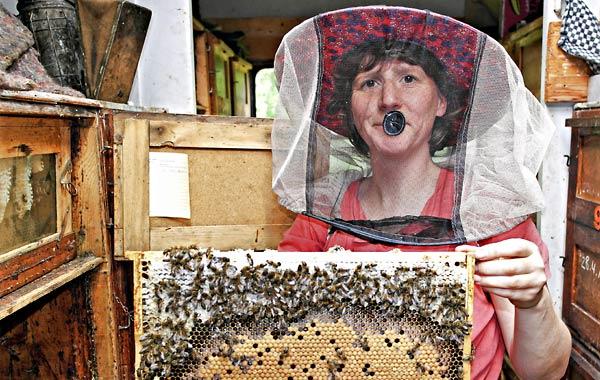 Iris Grabein mit Bienenwabe